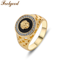 Feelgood Rings Unique Design High Quality Gold / Silver Color Black Fashion Male Ring Men Jewelry For Wedding Party Gift