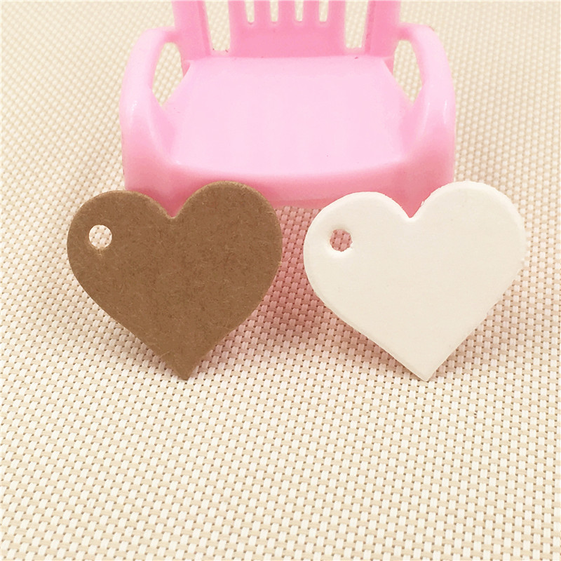 100Pcs Heart Shape Blank Kraft Paper Cardboard Tags 50Pcs Tags With 50Pcs Hemp Strings For Jewelry/Festival/Cake Gift Boxes Tags