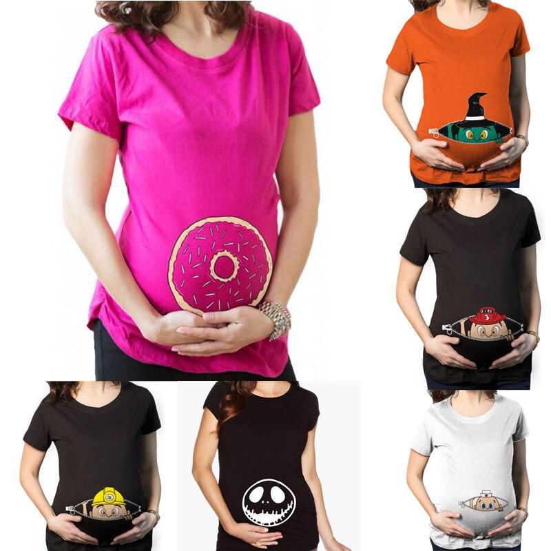 Ropa de embarazo Nueva camiseta de maternidad divertida para mujeres embarazadas y camiseta de talla grande Camisas de verano Premaman zwangerschaps kleding Y