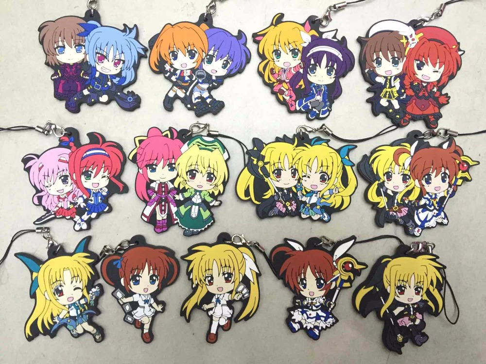13 pcs/lot Anime Sakura Magical Girls Figure Keychain phone strap pvc Pendants Toy gifts