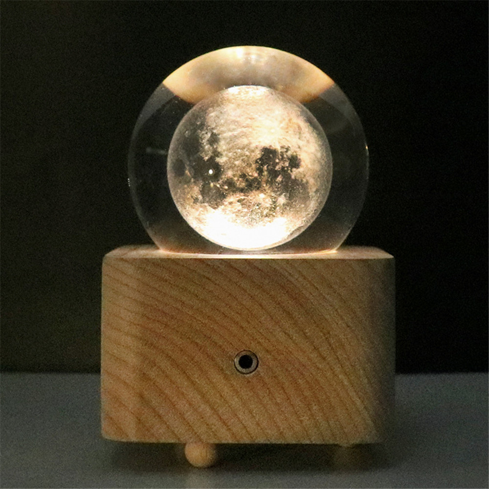 New solid wood crystal ball music music box Bluetooth speaker LED night light birthday gift girl led night lamp decorate dream bluetooth voice speaker christmas ever fresh flower creative music box rechargable desk light gift