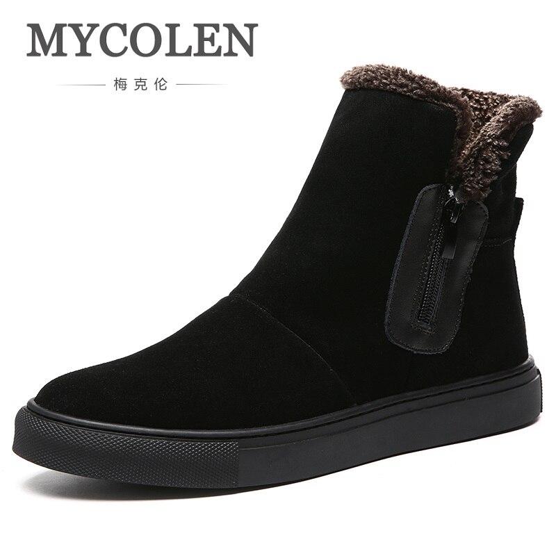 MYCOLEN 2018 Hiver Marque De Mode Nouveau Hommes Bottes Haute Qualité Dentelle-Up Mode Hommes Chaussures Hip-Hop Marée Classique Bottes Erkek Bot