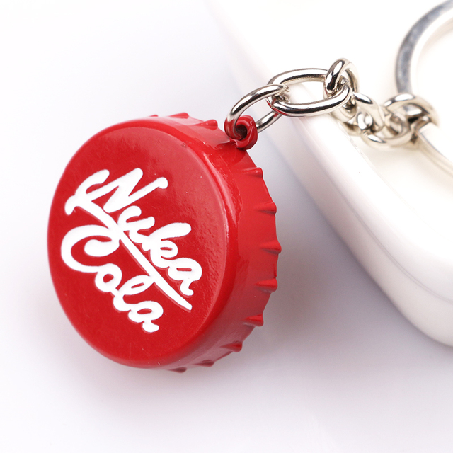 NEW Trend Game Fallout series Nuka Cola red fallout keychain High quality metal Jewelry Accessories