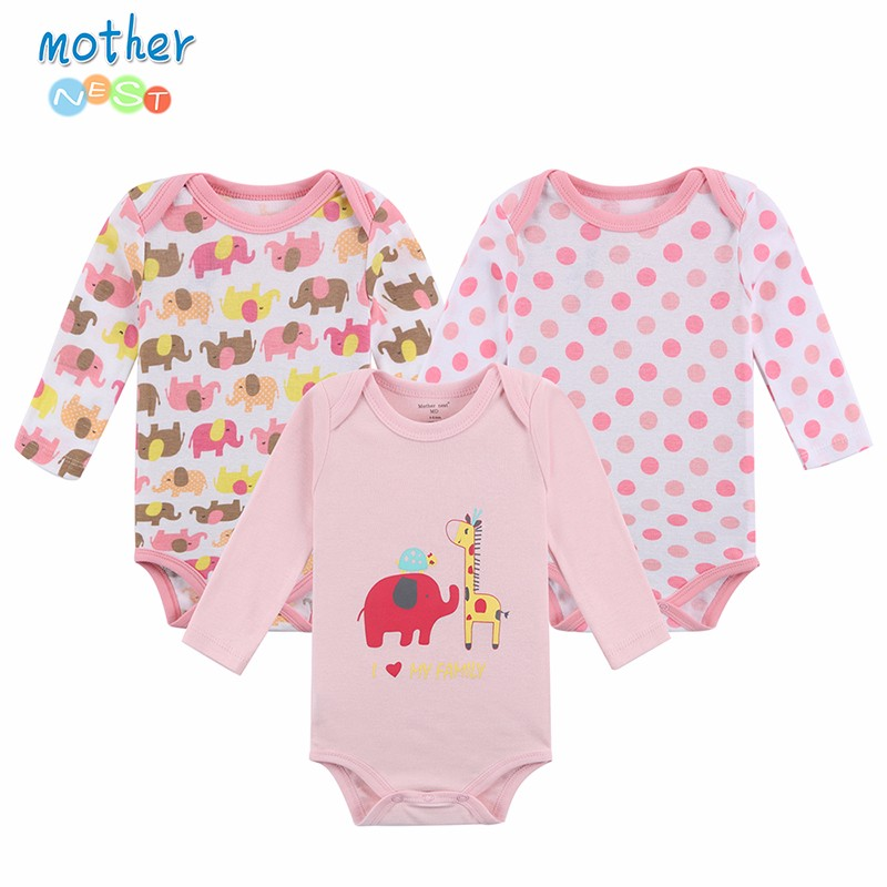 100% Cotton Baby Bodysuit 3pieces / lot Høst Nyfødt bomull Body Baby Langermet Undertøy Infant Boy Girl Pyjamas Klær