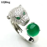 New Arrivals Crystal Rhinestone Head Leopard Open Rings 925 Sterling Silver Rings For Girl Women Gift