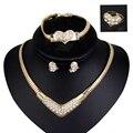 Conjuntos de jóias de Casamento Das Mulheres Do Partido Nupcial de Cristal Pingente Banhado A Ouro Belas Declaração Colar Brincos Pulseira Anéis Conjunto Dubai