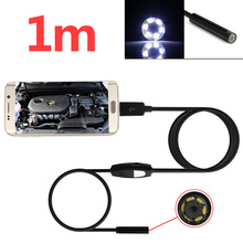 2pcs/lot Waterproof 1m/3.2ft 5.5mm 720P 6 LED Lights Endoscope USB Camera Borescope Micro USB Inspection Video Camera for Androi