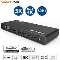 Station d'accueil pour ordinateur portable Wavlink universel 5K USB-C double affichage 4K USB 3.0 vidéo Gigabit Ethernet w/HDMI/Displayport pour Mac OS