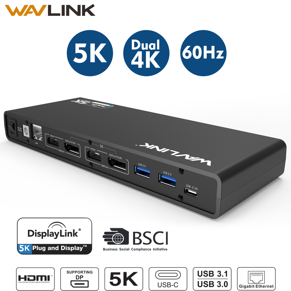 Wavlink Del Computer Portatile Docking Station Universale 5 k USB-C Dual 4 k Display Video USB 3.0 Gigabit Ethernet w/HDMI /Displayport Per Mac OSWavlink Del Computer Portatile Docking Station Universale 5 k USB-C Dual 4 k Display Video USB 3.0 Gigabit Ethernet w/HDMI /Displayport Per Mac OS