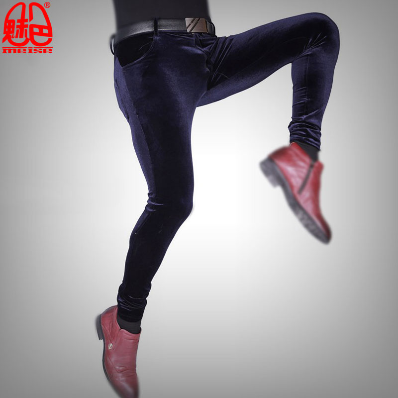 Sexy Men Plus Size Casual Shiny Pants Elastic Couple Jeans Pencil Pants Soft Slim Clubwear Legging Full Length Pencil Pants