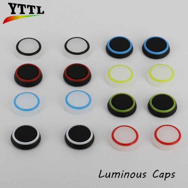 YTTL 2Pcs Silicone Controller Thumb Stick Grips Caps For XboxOne Xbox360 PS3 PS4 Controller accessory luminous Caps