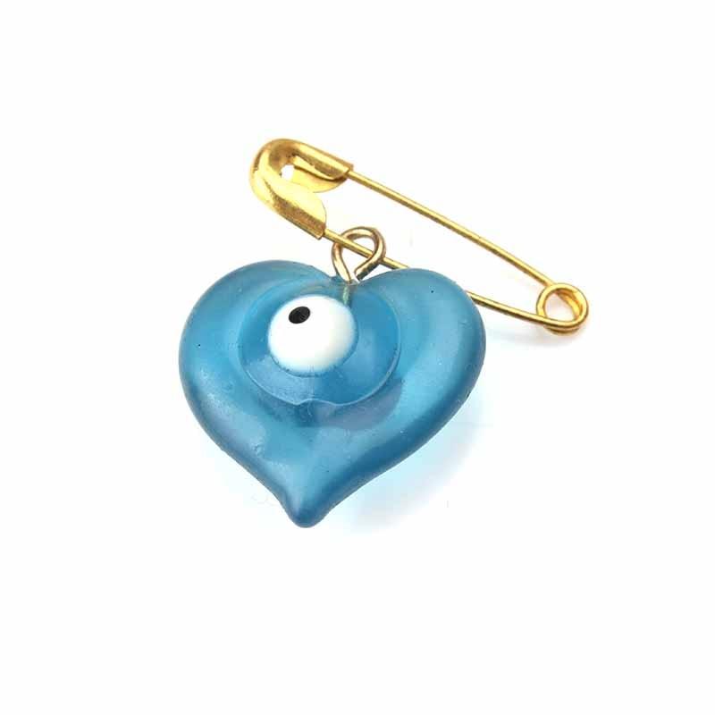 5pcs/lot Turkey Blue Heart Evil Eye Charms Pendant Brooch & Pin For Brooch Pin Women Men Shirt Jacket Badge Pins Fashion Jewelry