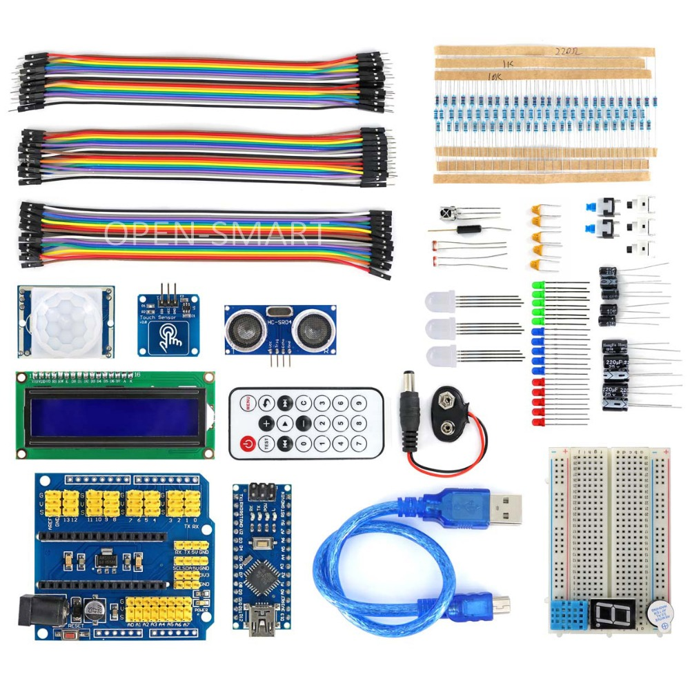Nano BreadBoard Kit w/ IO Expansion Board / Sensors / LCD Display Module / Tutorial for Arduino nano 328p io sensor wireless expansion board red works with official arduino boards