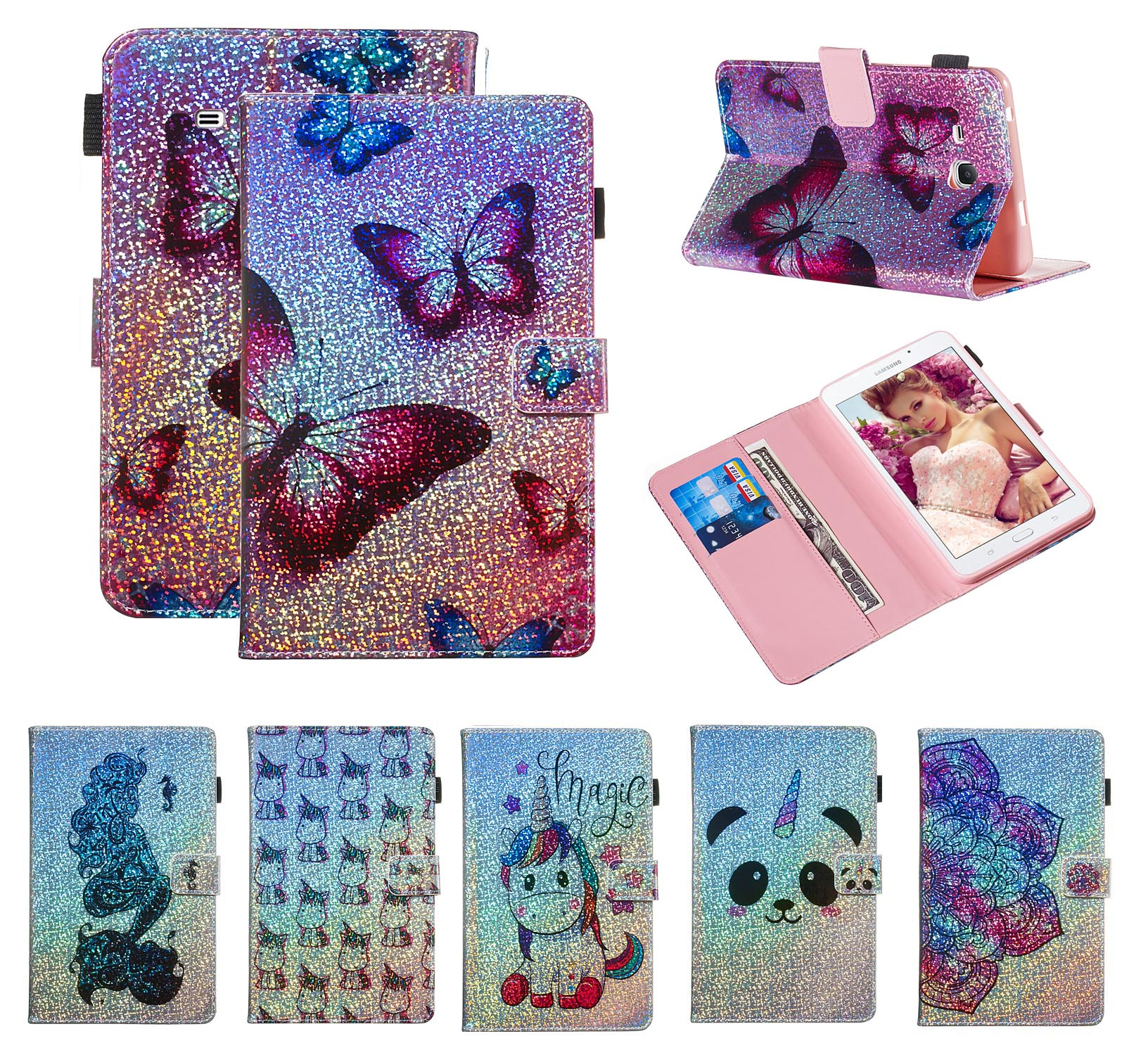 Fundas Butterfly flower Case For Samsung Galaxy T280 T285 A6 7 PU Leather Flip Wallet Bling Unicorn Shell Coque