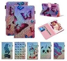 Fundas Butterfly flower for Samsung Galaxy Tab A 8.0 2017 T380 T385 SM-T380 PU Leather Flip Wallet Glitter Unicorn Case Shell