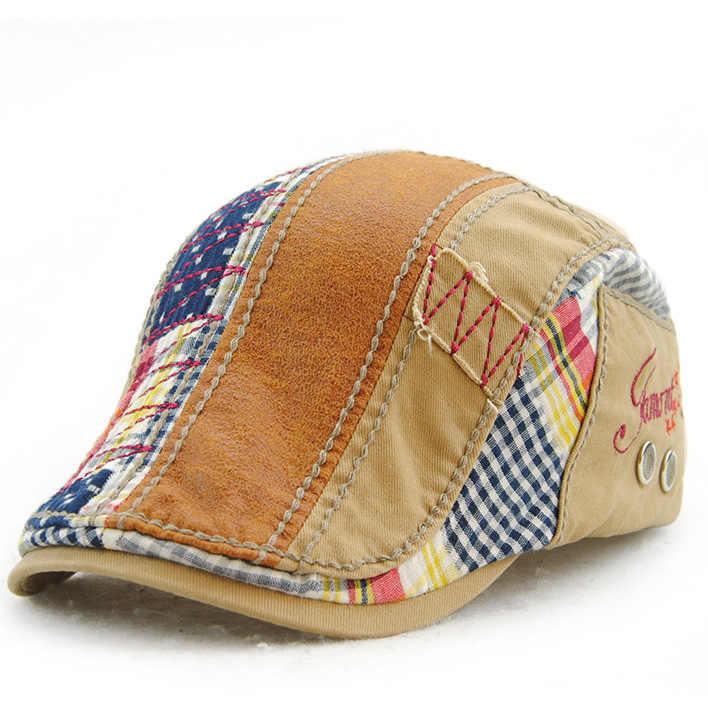 [JAMONT] 패션 바이저 모자 남성 여성 베레모 봄 가을 뼈 모자 패치 워크 스트라이프 플랫 캡 캐주얼 캐주얼 고라