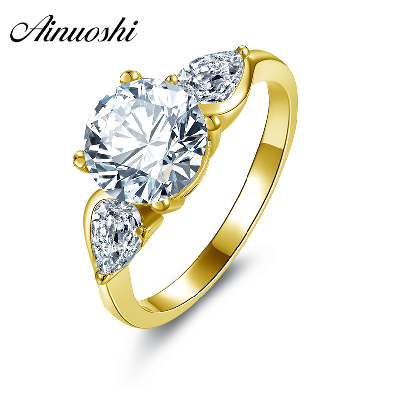 AINUOSHI Luxury 3 Stone Round Ring 14K Solid Yellow Gold Band Brilliant Pear Cut Simulated Diamond