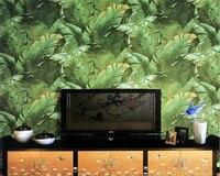 beibehang Southeast Asia simple green plant plantain leaf wallpaper environmental non woven living room bedroom papel de parede