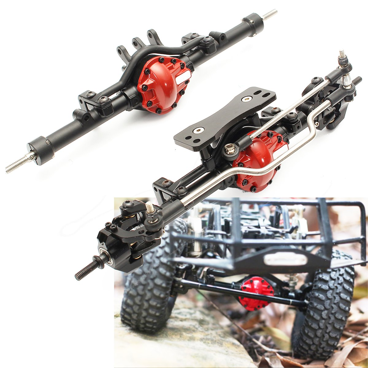 1/10 Complete Alloy Front+Rear Axle For 1:10 Rc Rock Crawler D90 Scx10 RC4WD ARB rc car 1 10 metal complete alloy front and rear axles for 1 10 rc crawler d90 scx10 rc4wd axial yota 2