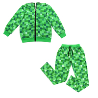 Minecraft Teen ליל כל הקדושים תלבושות נערי ילדי סתיו חליפת סווטשירט קפוצ 'ון עם הרוכסן לילדים מצחיקים ירוקים