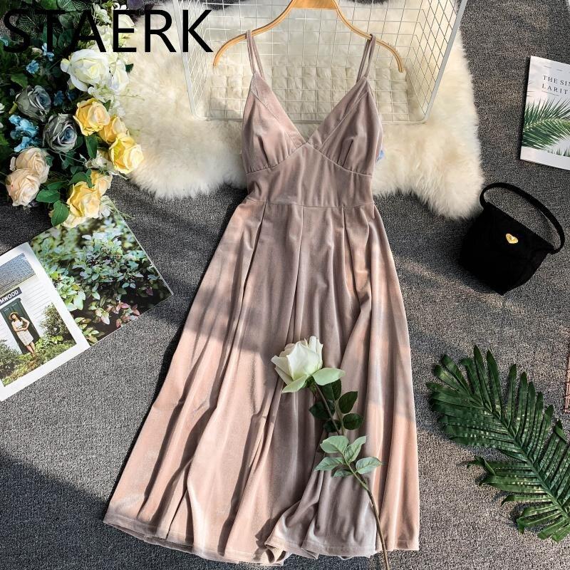 Wind restoring ancient ways the niche skirt pure color velvet v-neck long dress show thin waist Bathing suit cover ups Beach 201
