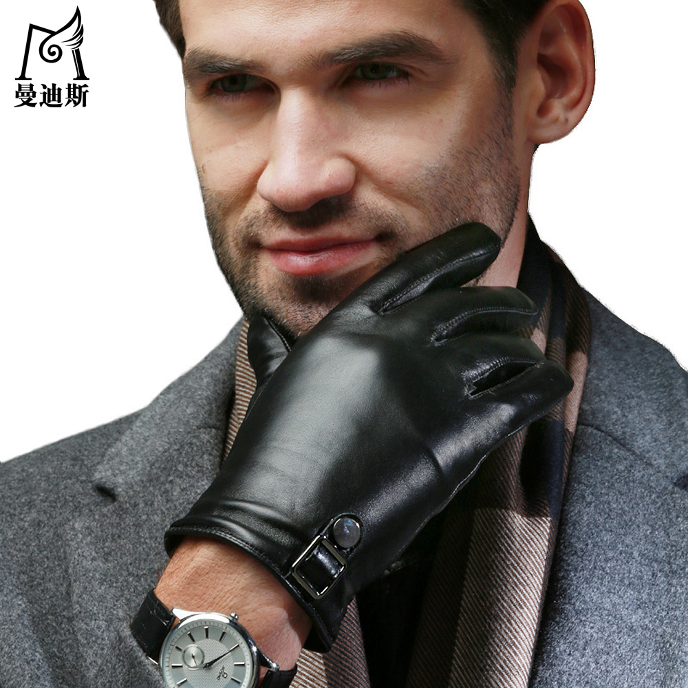 Fake leather driving gloves - 2016 Men Fashion Warm Touch Screen England Tlyle Driving Faux Fake Washable Leather Pu Autumn Winter New Belt Gloves Mittens