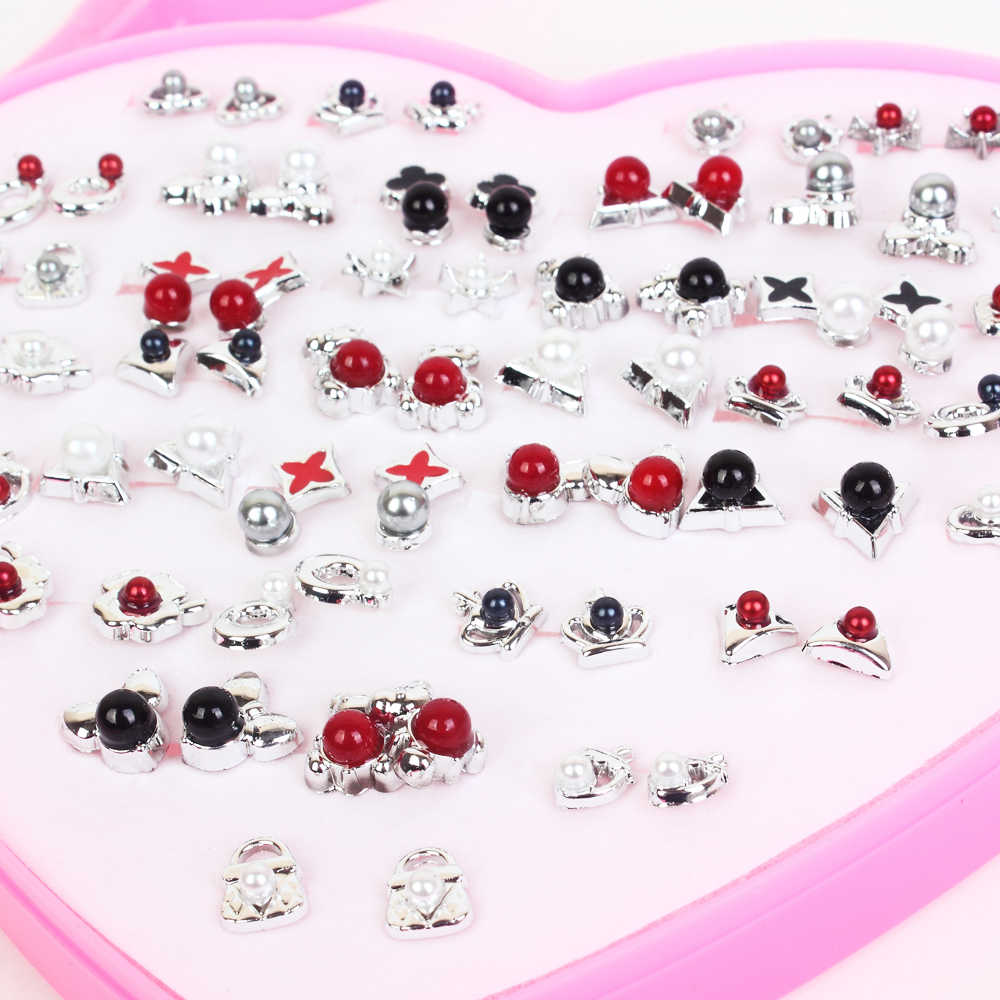 Women 36 Pairs /Lot Cute Crystal Pearl Crown Small Stud Earrings Sets Girl Children Jewelry Party Birthday Gift With Heart Box