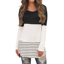 Female Top Casual Striped Loose Hollow Out Blouse Shirts O-n