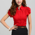 New Fashion women short Sleeve Shirt Lotus Leaf Pullover Lacing Bow Chiffon Shirt  Blouse  Tops