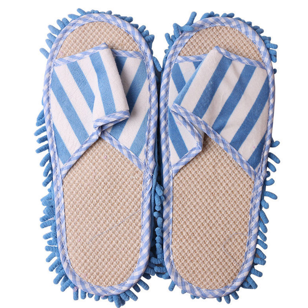 Polishing Lazy Washable Quick Cleaning Dusting Chenille Home Striped Unisex Mop Slippers Floor Foot Shoes Coral Fleece