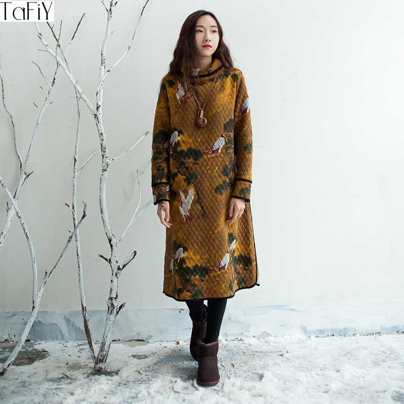Tafiy Vestidos 100 Cotton Dress Autumn Winter Women Loose Long Sleeve Print Turtleneck