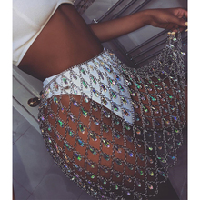Sexy Bling Metal chain Diamonds sequin skirt Women befree Summer Beach Hollow Colorful gem Queen crystal Night club Party skirts джемпер befree befree mp002xw1hy6m