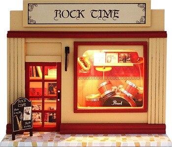 Holzbausätze Für Kinder   2018 HEIßER Rock Zeit Miniatur Modell Puppenhaus 3D Montieren Spielzeug Mit Funitures Gebäude Kits Für Kinder Oder Erwachsene Kreative Geschenke