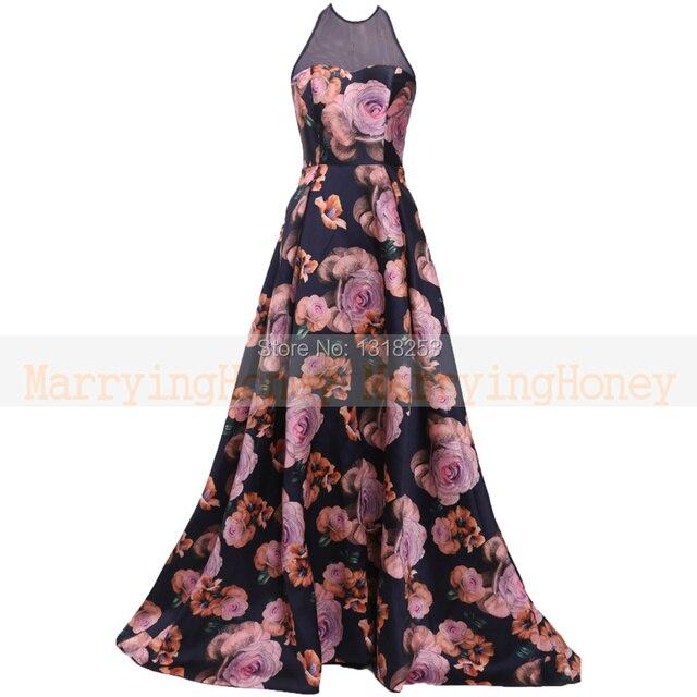 Sheer Halter plus size evening dress Flower Printed abendkleider ...