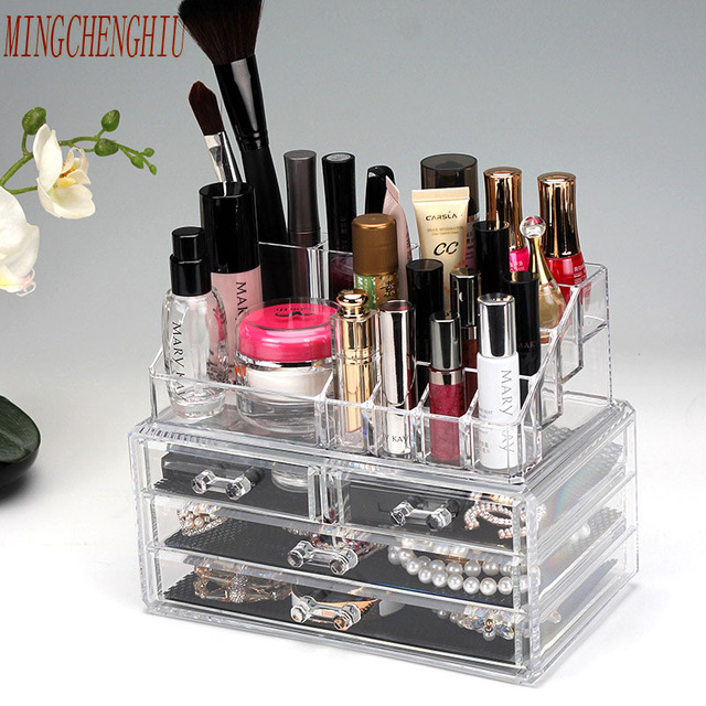 Clear Acrylic Cosmetic jewelry Organizer Box Womens Makeup Storage
