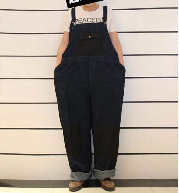 ФОТО Oversized costumes elastic waist 2015 Men's Plus Size Overalls Large Huge Denim Bib Pants Fashion Pocket Jumpsuits Male