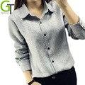 2016 Blusa de Algodão Casual Feminino Turn-down Collar Longo-luva Das Mulheres Tops Camisa Das Mulheres Trabalho de Escritório Blusas y camisas mujer Feminino
