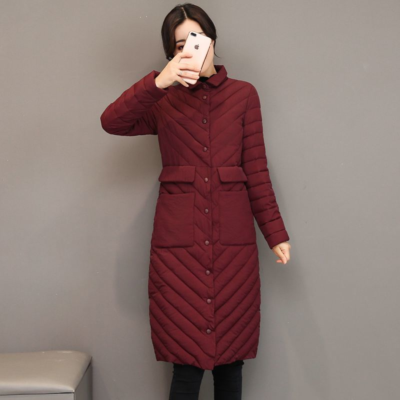 2017 New Long Parkas Women Single Breasted Coat Warm Cotton Padded Jacket For Women Winter Outwear Plus Size 2015 cotton padded elderly warm thickening long cotton padded jacket mens new single breasted wholesale zipper loose coat d10