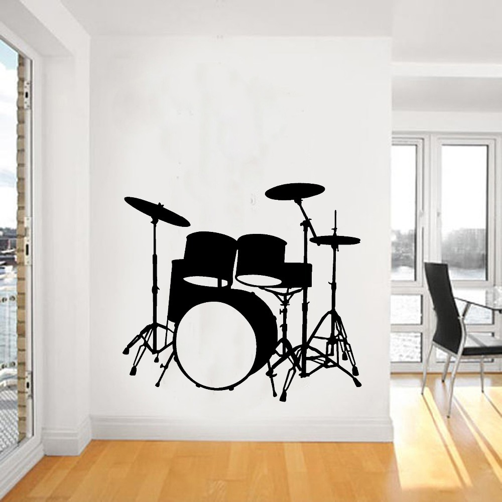 2015 Fashion Music Vinyl Wall Decal Drums Wall Art Musical Instrument Mural  Wall Sticker Music Room Sticker Home Decoration In Wall Stickers From Home  ...
