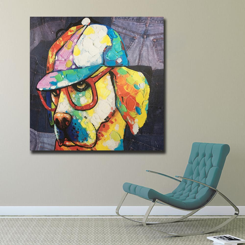 Us 9 68 43 offfashion pop art oil painting wall art picture animal funky puppy printed canvas painting for living room home decor unframed in