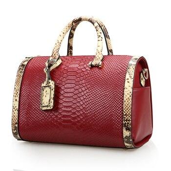 Nesitu Creamy White Red Black Fashion Split Leather Women Handbags Women's Shoulder Bag Ladies Tote #M0497