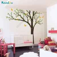 3 color Available DIY Large Tree Big Bole Leave And Bird Nursery Wall Decal Baby Room Sticker Kid Room Wallpaper B925
