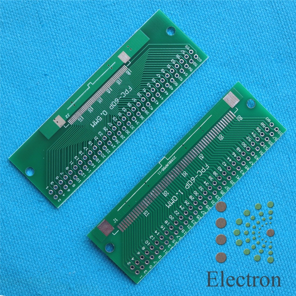 5pcs/lot 60P FFC FPC Adapter Plate 0.5MM/1.0MM Pitch to 2.54mm 60Pin Flat Cable Socket Connector for PCB Board TFT LCD new