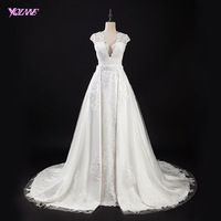 YQLNNE 2 In 1 White Mermaid Wedding Dress Deep V Neck Lace Detachable Train Bridal Gown