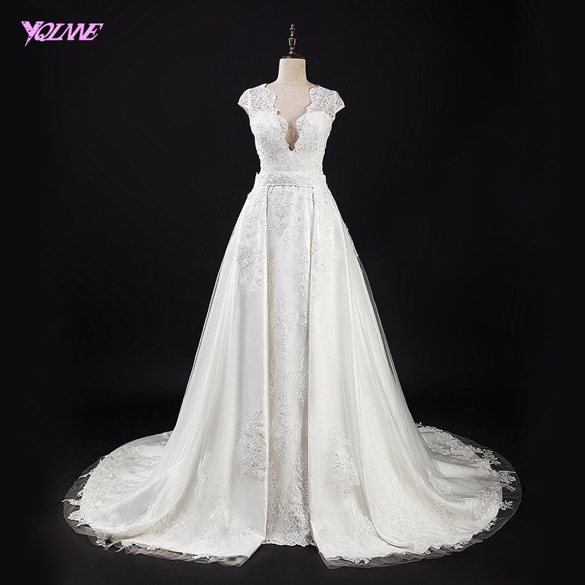 Yqlnne white lace wedding dress mermaid deep v neck for Detachable train wedding dress