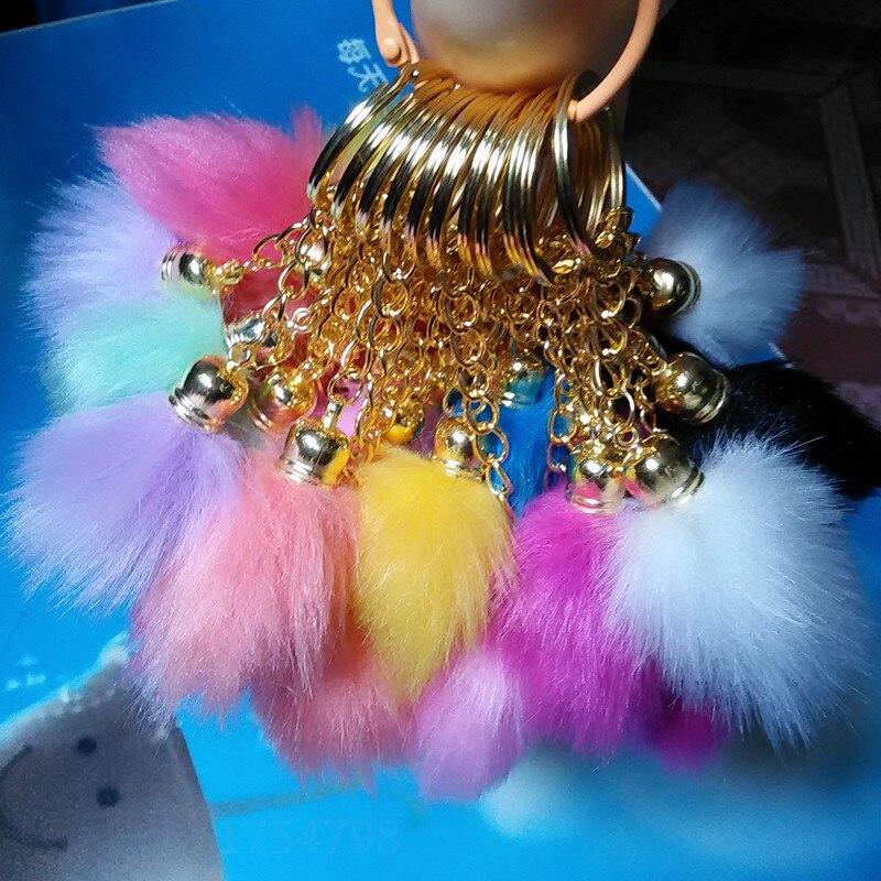 12Color Fake Fox Fur KeyChainsCylindrický Tail Design Pompon auto Klíčenka dlouhý taška řetízek osobnosti Visí Přívěsky na klíče dlouhé Pompony