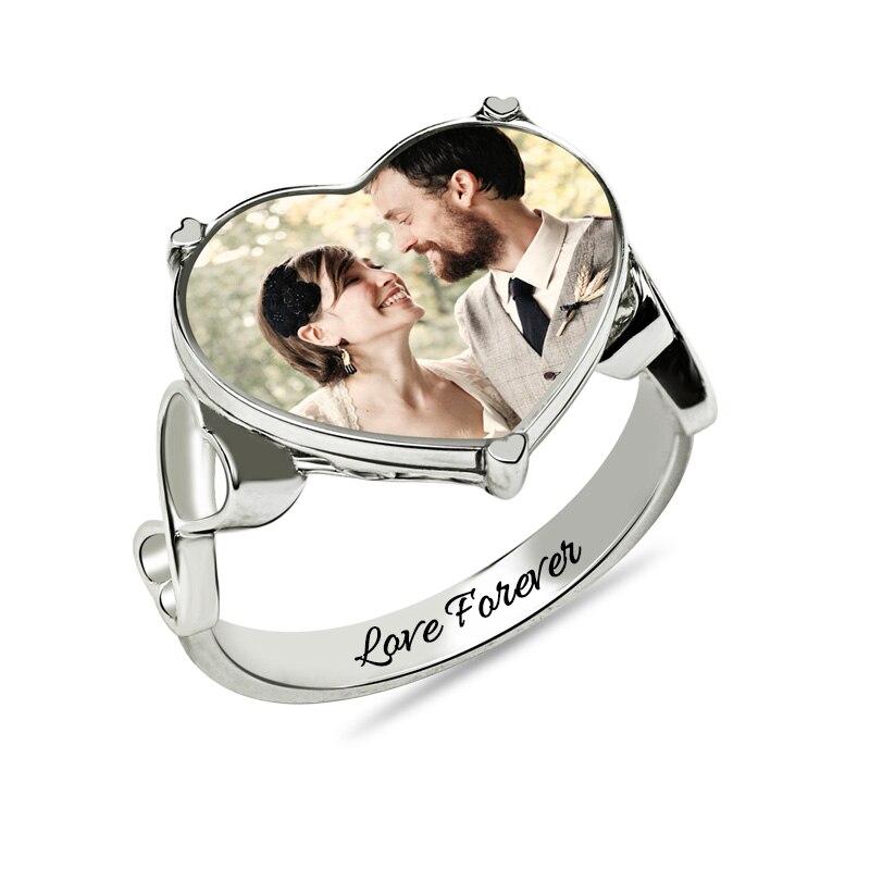 AILIN personnalisé gravé couleur Photo coeur bague en or blanc couleur mémorial anneau pour les femmes