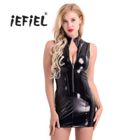 Women PVC Leather Wetlook Sleeveless Stand Collar Front Zipper Slim Fit Sexy Ladies Evening Party Fashion