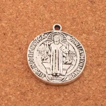 Saint St Benedict of Nursia Patron Cross Medal Charm Beads Pendants 28x24.5mm 38PCS Antique Silver L1647 saint jesus benedict nursia patron medal crucifix cross charm pendants jewelry diy 11 8x15mm 200pcs lot antique gold a 381