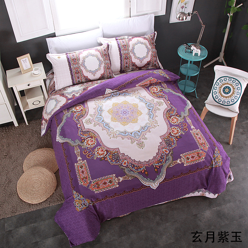 Purple Flowers Bedding Set sanding Cotton Bed Linen Sets 4pcs Bedspreads adults queen king Size Duvet Cover Bed Sheet Set